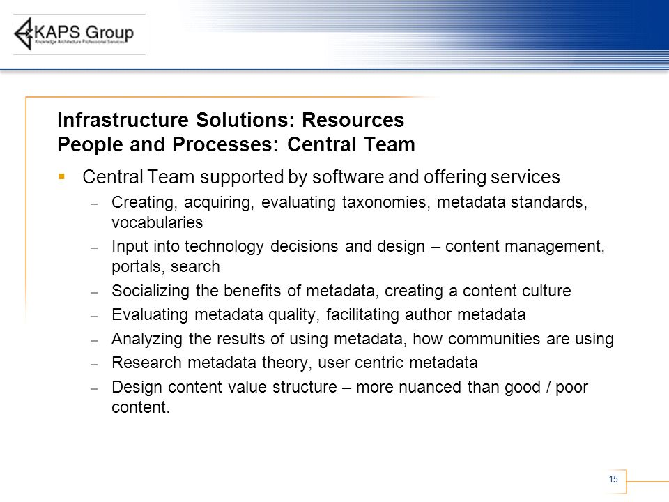 15 Infrastructure Solutions: Resources People and Processes: Central Team Central Team supported by software and offering services – Creating, acquiring, evaluating taxonomies, metadata standards, vocabularies – Input into technology decisions and design – content management, portals, search – Socializing the benefits of metadata, creating a content culture – Evaluating metadata quality, facilitating author metadata – Analyzing the results of using metadata, how communities are using – Research metadata theory, user centric metadata – Design content value structure – more nuanced than good / poor content.