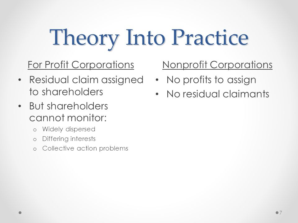 Theory Into Practice For Profit CorporationsNonprofit Corporations Residual claim assigned to shareholders But shareholders cannot monitor: o Widely dispersed o Differing interests o Collective action problems No profits to assign No residual claimants 7