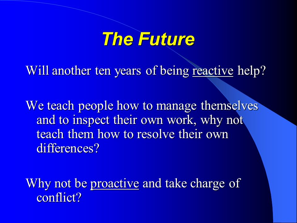 The Future The Future Will another ten years of being reactive help.