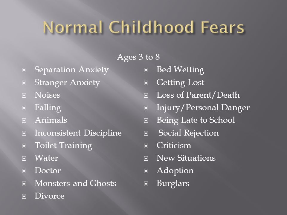 Ages 3 Separation Anxiety Stranger Anxiety Noises Falling Animals Inconsistent Discipline Toilet Training Water Doctor Monsters and Ghosts Divorce to 8 Bed Wetting Getting Lost Loss of Parent/Death Injury/Personal Danger Being Late to School Social Rejection Criticism New Situations Adoption Burglars