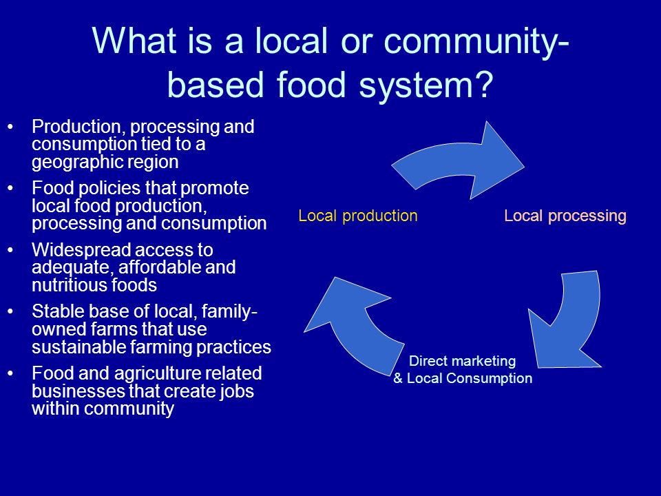 What is a local or community- based food system.