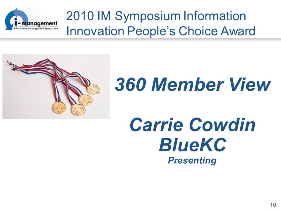 IM Symposium Information Innovation Peoples Choice Award 360 Member View Carrie Cowdin BlueKC Presenting