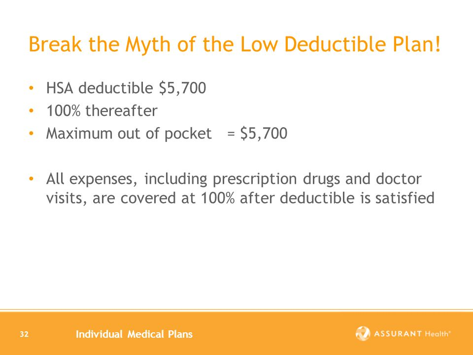 Individual Medical Plans 32 Break the Myth of the Low Deductible Plan.