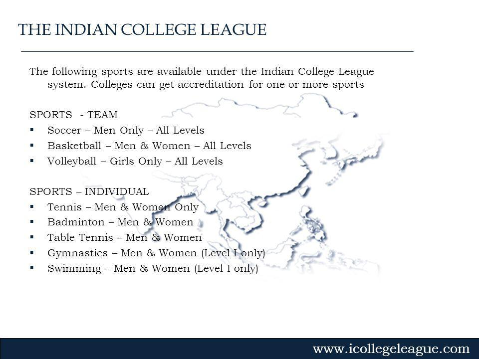 Gvmk,bj. The following sports are available under the Indian College League system.