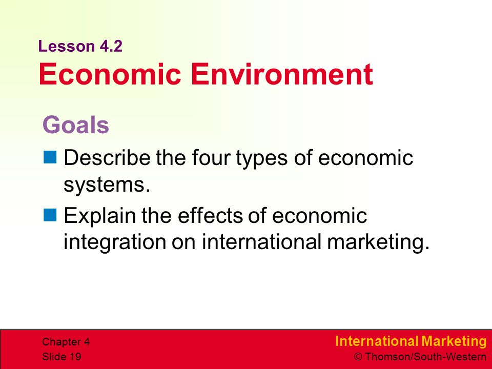 International Marketing © Thomson/South-Western Chapter 4 Slide 19 Lesson 4.2 Economic Environment Goals Describe the four types of economic systems.