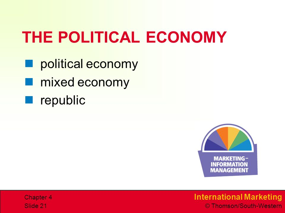 International Marketing © Thomson/South-Western Chapter 4 Slide 21 THE POLITICAL ECONOMY political economy mixed economy republic