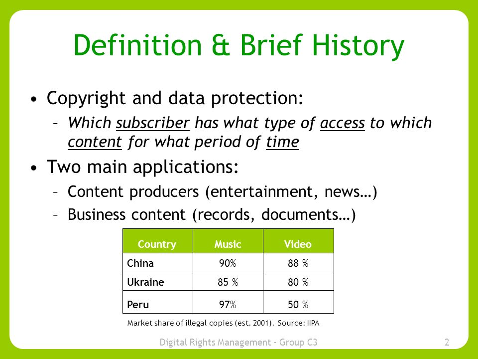 Digital Rights Management - Group C32 Definition & Brief History Copyright and data protection: –Which subscriber has what type of access to which content for what period of time Two main applications: –Content producers (entertainment, news…) –Business content (records, documents…) History: –Increased digitisation of content in last 10 years –Growing concerns over Piracy 50 %97%Peru 80 %85 %Ukraine 88 %90%China VideoMusicCountry Market share of illegal copies (est.