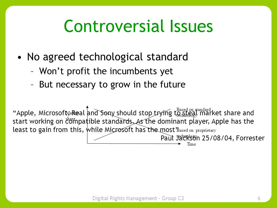 Digital Rights Management - Group C36 Controversial Issues No agreed technological standard –Wont profit the incumbents yet –But necessary to grow in the future Time Market share Based on standard technology Based on proprietary technology Apple, Microsoft, Real and Sony should stop trying to steal market share and start working on compatible standards.