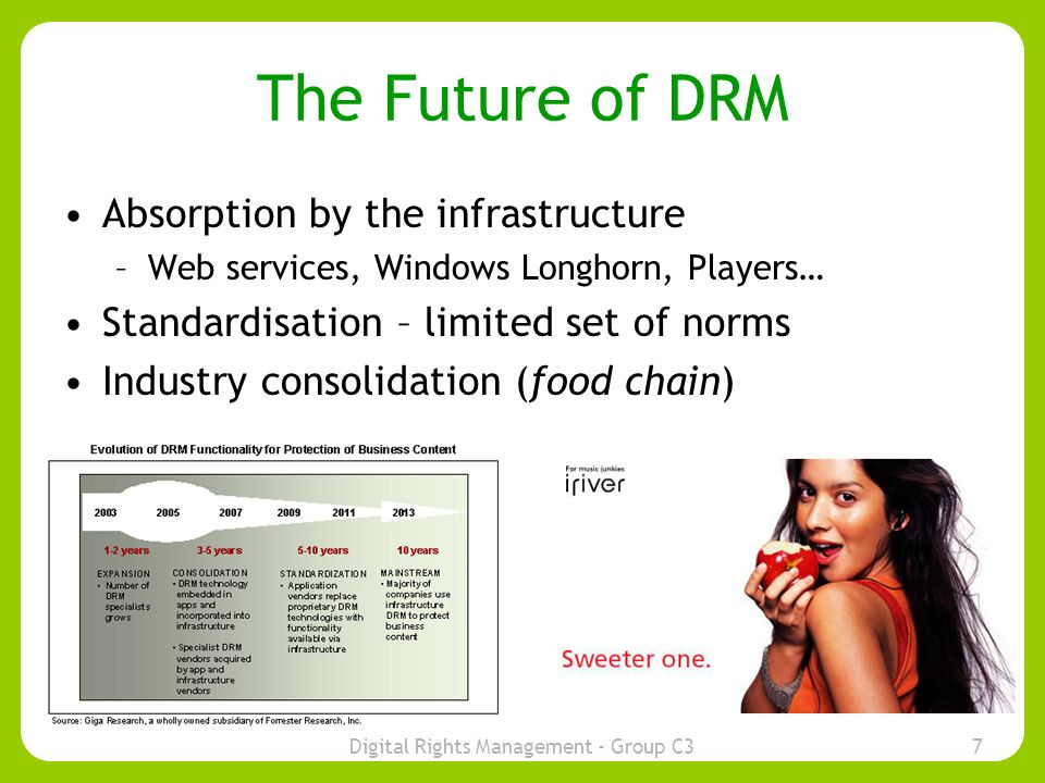 Digital Rights Management - Group C37 The Future of DRM Absorption by the infrastructure –Web services, Windows Longhorn, Players… Standardisation – limited set of norms Industry consolidation (food chain)