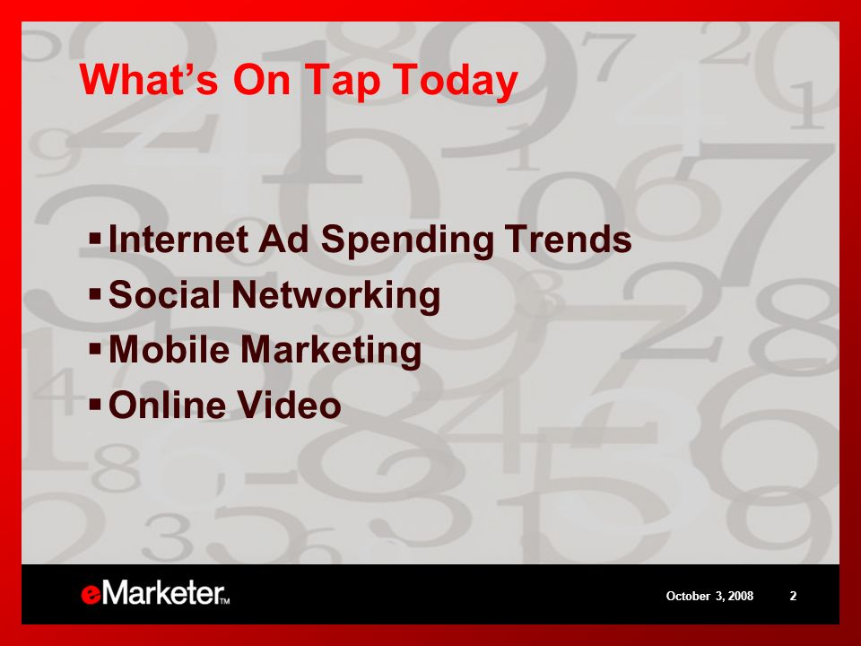 October 3, Whats On Tap Today Internet Ad Spending Trends Social Networking Mobile Marketing Online Video