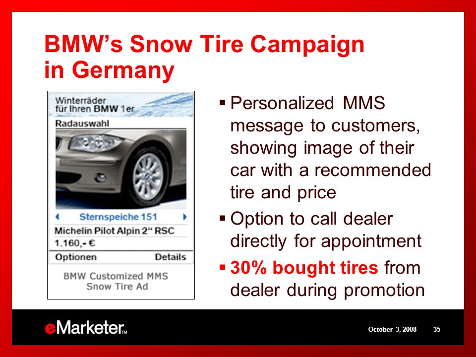 BMWs Snow Tire Campaign in Germany Personalized MMS message to customers, showing image of their car with a recommended tire and price Option to call dealer directly for appointment 30% bought tires from dealer during promotion October 3,