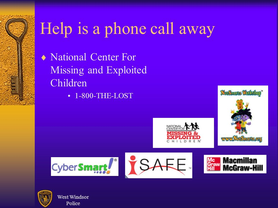 West Windsor Police Help is a phone call away National Center For Missing and Exploited Children THE-LOST