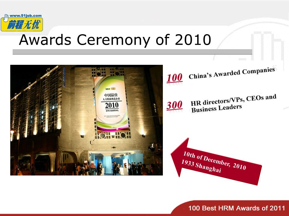 Awards Ceremony of th of December, Shanghai