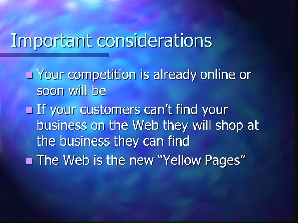 Why your company should be online Three years ago, if you didnt have an  address on your business card you were considered a techno peasant Three years ago, if you didnt have an  address on your business card you were considered a techno peasant Today, if you dont have a Web site listed on your business card you are considered a Luddite Today, if you dont have a Web site listed on your business card you are considered a Luddite