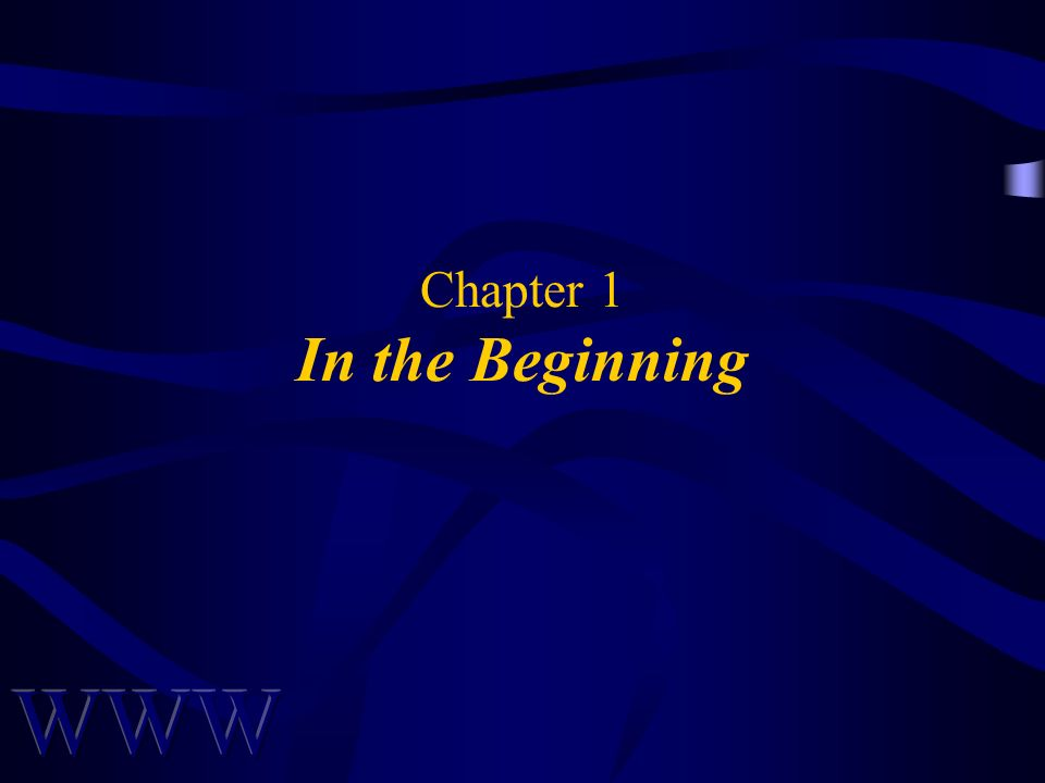 Chapter 1 In the Beginning