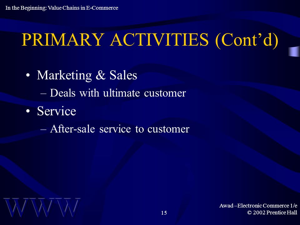 Awad –Electronic Commerce 1/e © 2002 Prentice Hall15 PRIMARY ACTIVITIES (Contd) Marketing & Sales –Deals with ultimate customer Service –After-sale service to customer In the Beginning: Value Chains in E-Commerce
