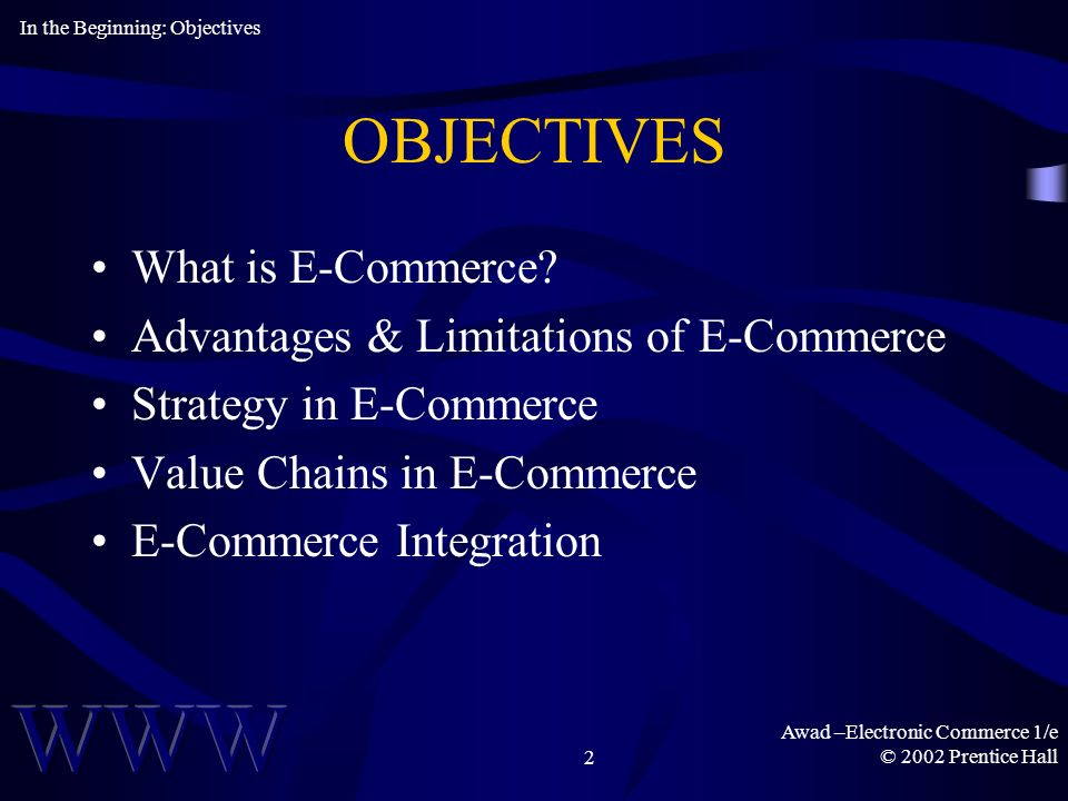 Awad –Electronic Commerce 1/e © 2002 Prentice Hall2 OBJECTIVES What is E-Commerce.