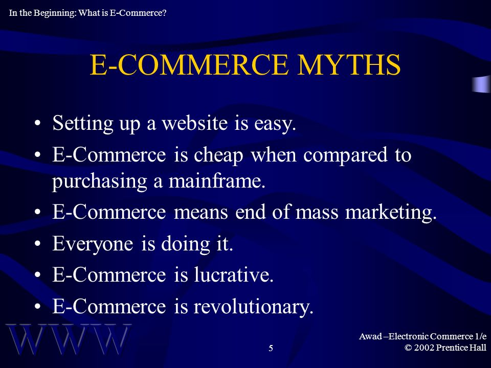 Awad –Electronic Commerce 1/e © 2002 Prentice Hall5 E-COMMERCE MYTHS Setting up a website is easy.