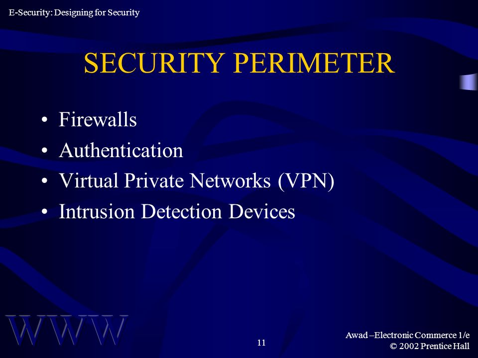 Awad –Electronic Commerce 1/e © 2002 Prentice Hall 11 SECURITY PERIMETER Firewalls Authentication Virtual Private Networks (VPN) Intrusion Detection Devices E-Security: Designing for Security