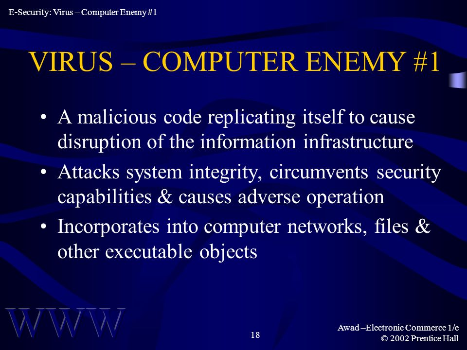 Awad –Electronic Commerce 1/e © 2002 Prentice Hall 18 VIRUS – COMPUTER ENEMY #1 A malicious code replicating itself to cause disruption of the information infrastructure Attacks system integrity, circumvents security capabilities & causes adverse operation Incorporates into computer networks, files & other executable objects E-Security: Virus – Computer Enemy #1