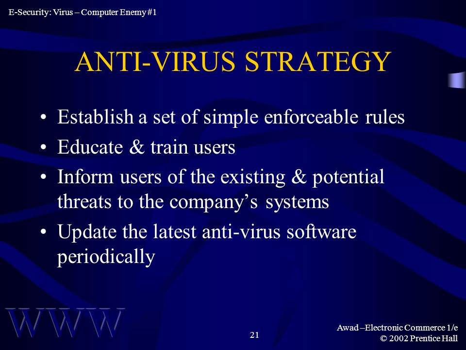 Awad –Electronic Commerce 1/e © 2002 Prentice Hall 21 ANTI-VIRUS STRATEGY Establish a set of simple enforceable rules Educate & train users Inform users of the existing & potential threats to the companys systems Update the latest anti-virus software periodically E-Security: Virus – Computer Enemy #1