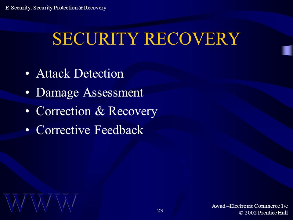 Awad –Electronic Commerce 1/e © 2002 Prentice Hall 23 SECURITY RECOVERY Attack Detection Damage Assessment Correction & Recovery Corrective Feedback E-Security: Security Protection & Recovery