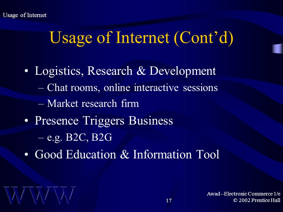 Awad –Electronic Commerce 1/e © 2002 Prentice Hall17 Usage of Internet (Contd) Logistics, Research & Development –Chat rooms, online interactive sessions –Market research firm Presence Triggers Business –e.g.