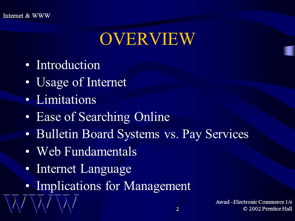 Awad –Electronic Commerce 1/e © 2002 Prentice Hall2 OVERVIEW Introduction Usage of Internet Limitations Ease of Searching Online Bulletin Board Systems vs.