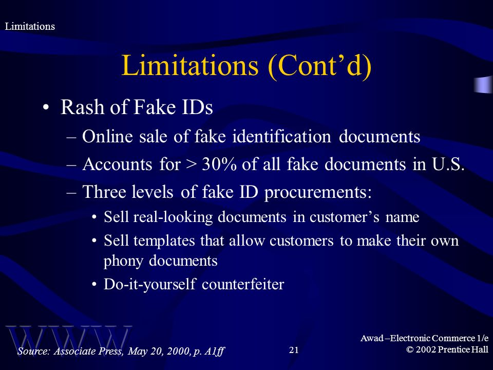 Awad –Electronic Commerce 1/e © 2002 Prentice Hall21 Limitations (Contd) Rash of Fake IDs –Online sale of fake identification documents –Accounts for > 30% of all fake documents in U.S.