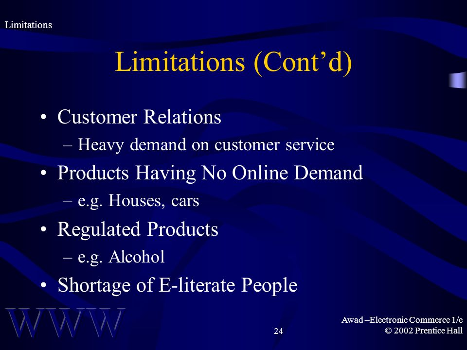 Awad –Electronic Commerce 1/e © 2002 Prentice Hall24 Limitations (Contd) Customer Relations –Heavy demand on customer service Products Having No Online Demand –e.g.