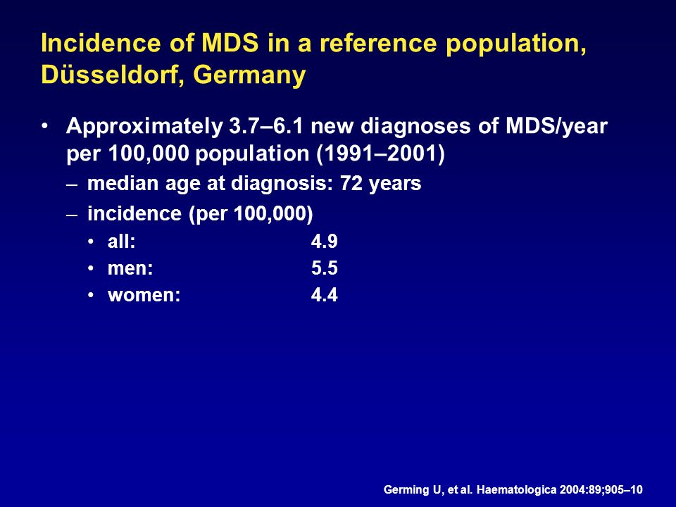Approximately 3.7–6.1 new diagnoses of MDS/year per 100,000 population (1991–2001) –median age at diagnosis: 72 years –incidence (per 100,000) all: 4.9 men: 5.5 women: 4.4 Germing U, et al.