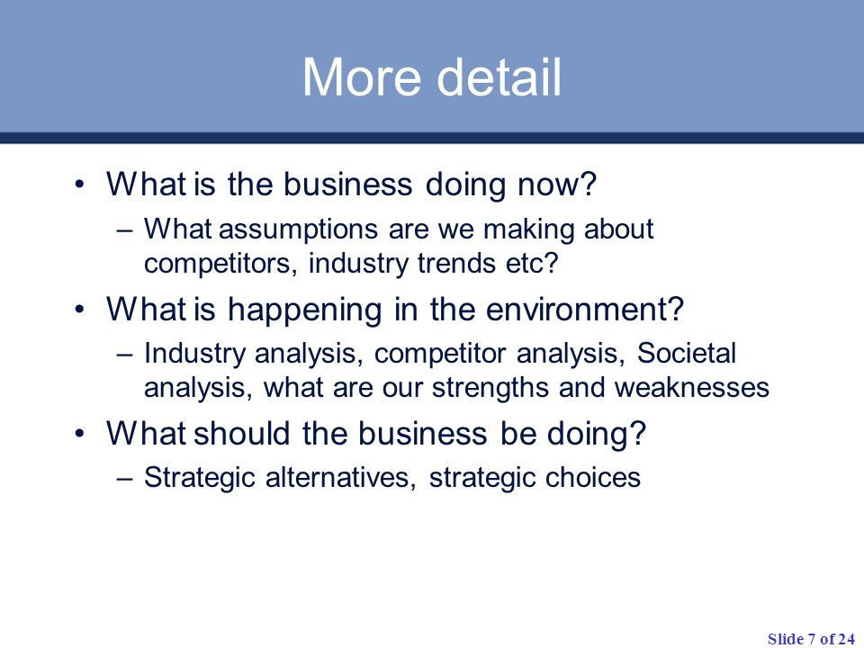 Slide 7 of 24 More detail What is the business doing now.