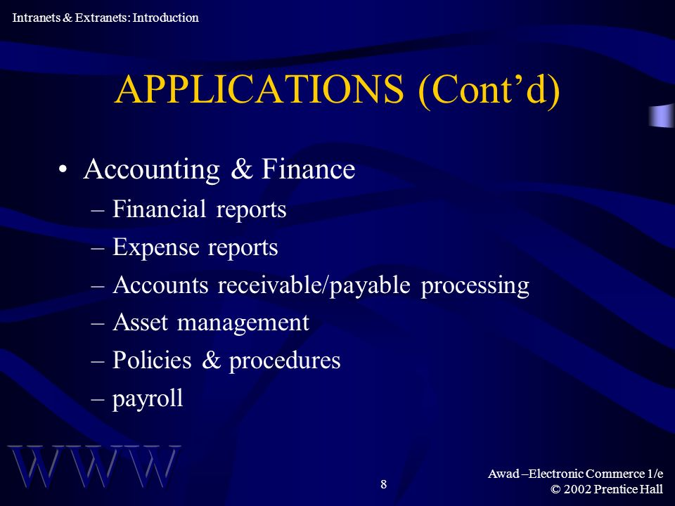 Awad –Electronic Commerce 1/e © 2002 Prentice Hall 8 APPLICATIONS (Contd) Accounting & Finance –Financial reports –Expense reports –Accounts receivable/payable processing –Asset management –Policies & procedures –payroll Intranets & Extranets: Introduction