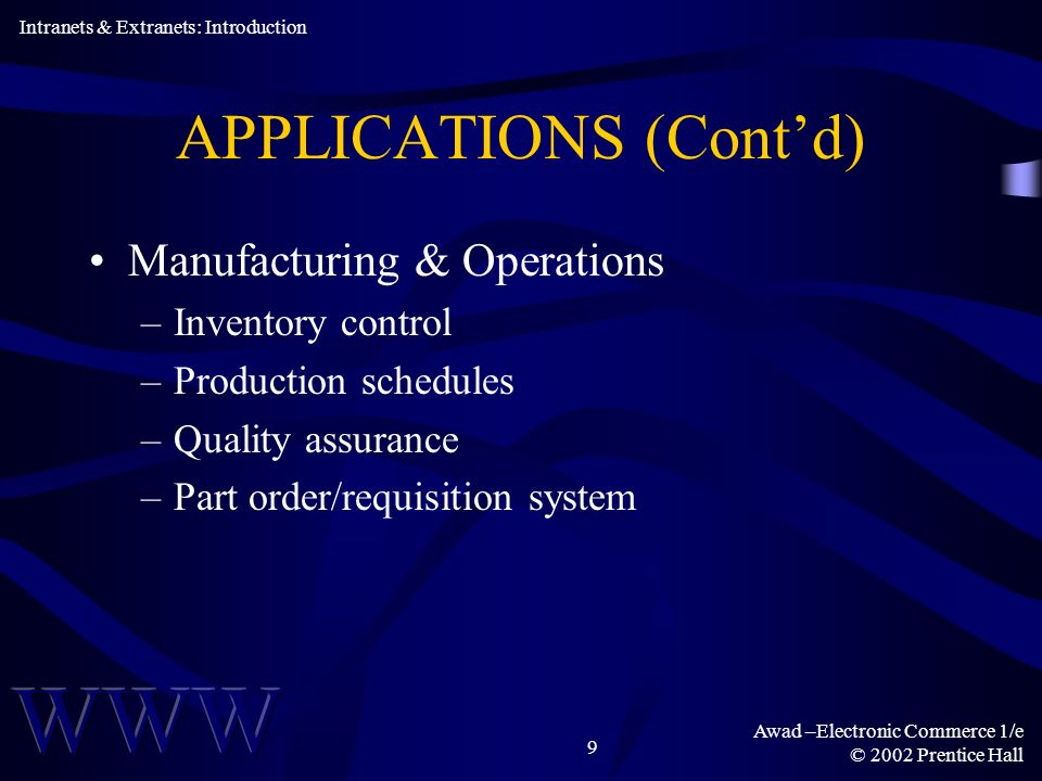 Awad –Electronic Commerce 1/e © 2002 Prentice Hall 9 APPLICATIONS (Contd) Manufacturing & Operations –Inventory control –Production schedules –Quality assurance –Part order/requisition system Intranets & Extranets: Introduction