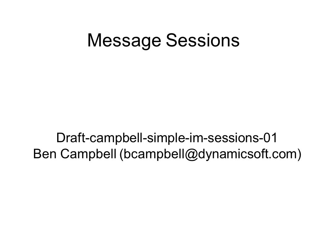 Message Sessions Draft-campbell-simple-im-sessions-01 Ben Campbell