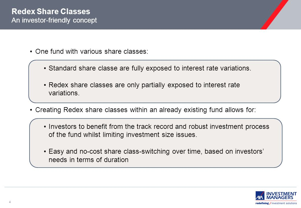 4 Redex Share Classes An investor-friendly concept One fund with various share classes: Standard share classe are fully exposed to interest rate variations.