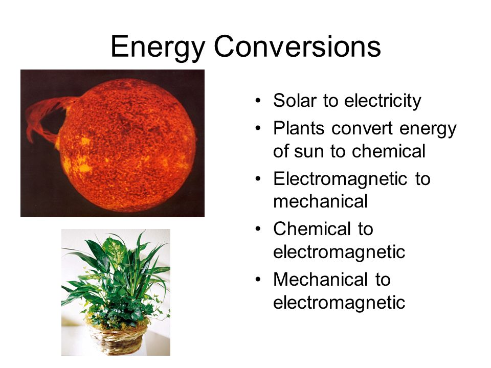 Energy Conversions Solar to electricity Plants convert energy of sun to chemical Electromagnetic to mechanical Chemical to electromagnetic Mechanical to electromagnetic