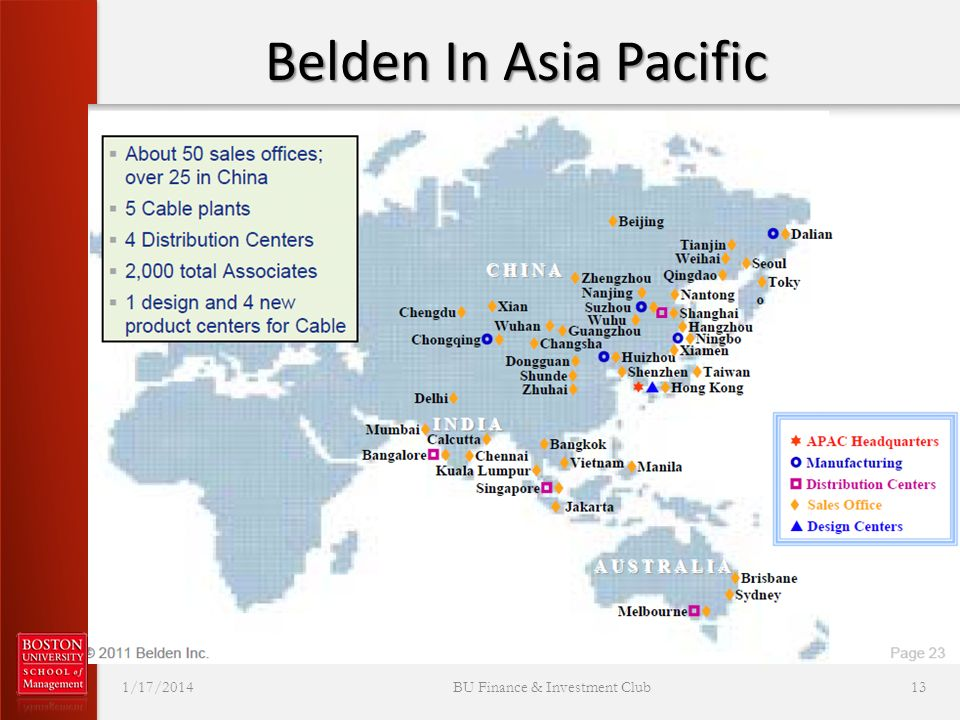 Belden In Asia Pacific 1/17/2014 BU Finance & Investment Club 13