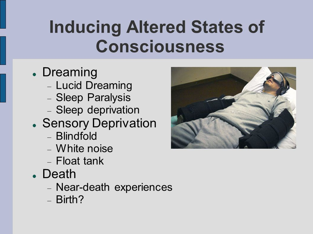 Inducing Altered States of Consciousness Dreaming Lucid Dreaming Sleep Paralysis Sleep deprivation Sensory Deprivation Blindfold White noise Float tank Death Near-death experiences Birth