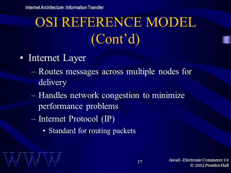 Awad –Electronic Commerce 1/e © 2002 Prentice Hall 17 OSI REFERENCE MODEL (Contd) Internet Layer –Routes messages across multiple nodes for delivery –Handles network congestion to minimize performance problems –Internet Protocol (IP) Standard for routing packets Internet Architecture: Information Transfer