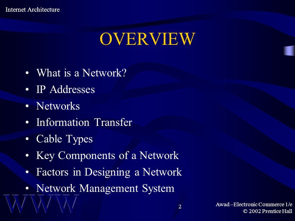 Awad –Electronic Commerce 1/e © 2002 Prentice Hall 2 OVERVIEW What is a Network.