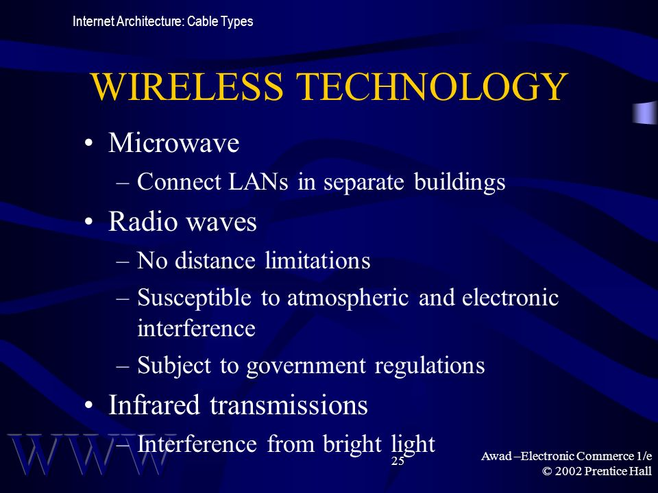 Awad –Electronic Commerce 1/e © 2002 Prentice Hall 25 WIRELESS TECHNOLOGY Microwave –Connect LANs in separate buildings Radio waves –No distance limitations –Susceptible to atmospheric and electronic interference –Subject to government regulations Infrared transmissions –Interference from bright light Internet Architecture: Cable Types