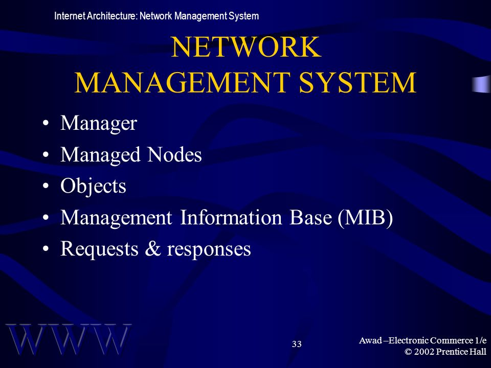 Awad –Electronic Commerce 1/e © 2002 Prentice Hall 33 NETWORK MANAGEMENT SYSTEM Manager Managed Nodes Objects Management Information Base (MIB) Requests & responses Internet Architecture: Network Management System