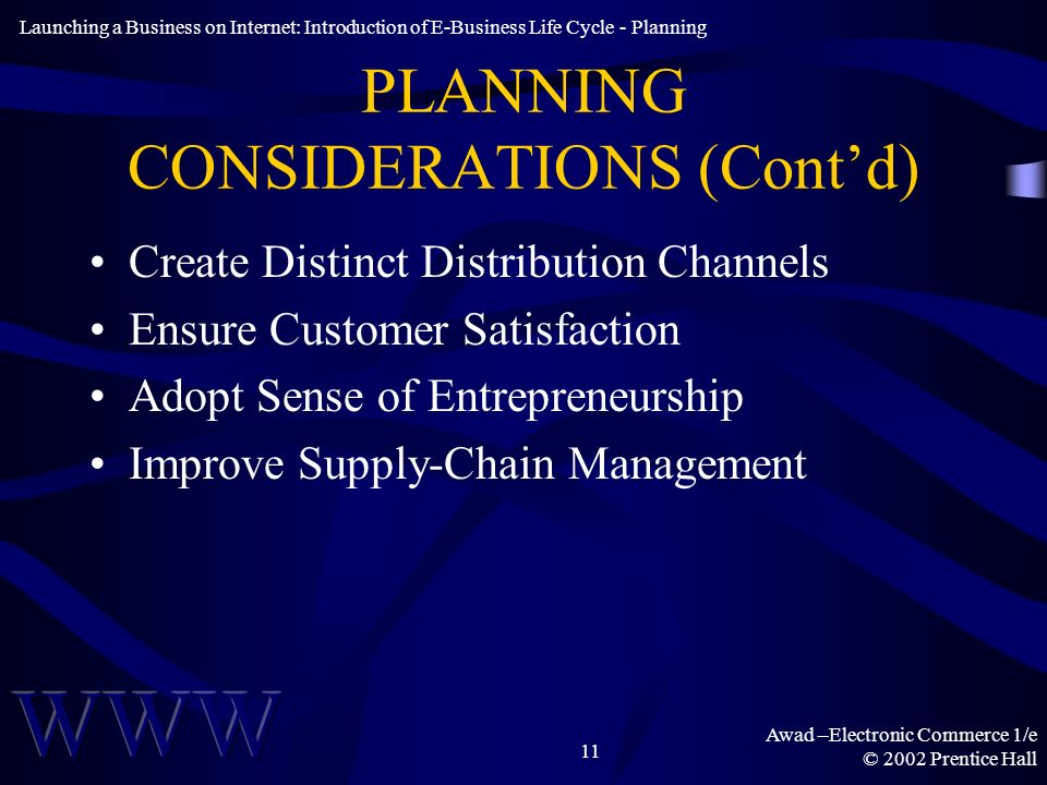 Awad –Electronic Commerce 1/e © 2002 Prentice Hall 11 PLANNING CONSIDERATIONS (Contd) Create Distinct Distribution Channels Ensure Customer Satisfaction Adopt Sense of Entrepreneurship Improve Supply-Chain Management Launching a Business on Internet: Introduction of E-Business Life Cycle - Planning