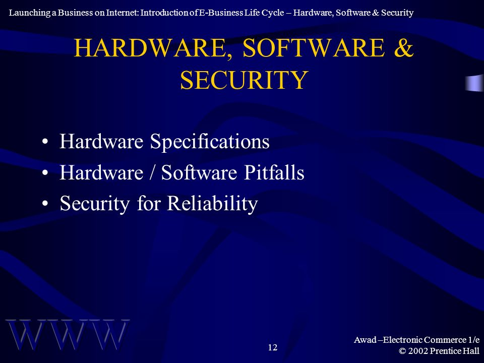 Awad –Electronic Commerce 1/e © 2002 Prentice Hall 12 HARDWARE, SOFTWARE & SECURITY Hardware Specifications Hardware / Software Pitfalls Security for Reliability Launching a Business on Internet: Introduction of E-Business Life Cycle – Hardware, Software & Security