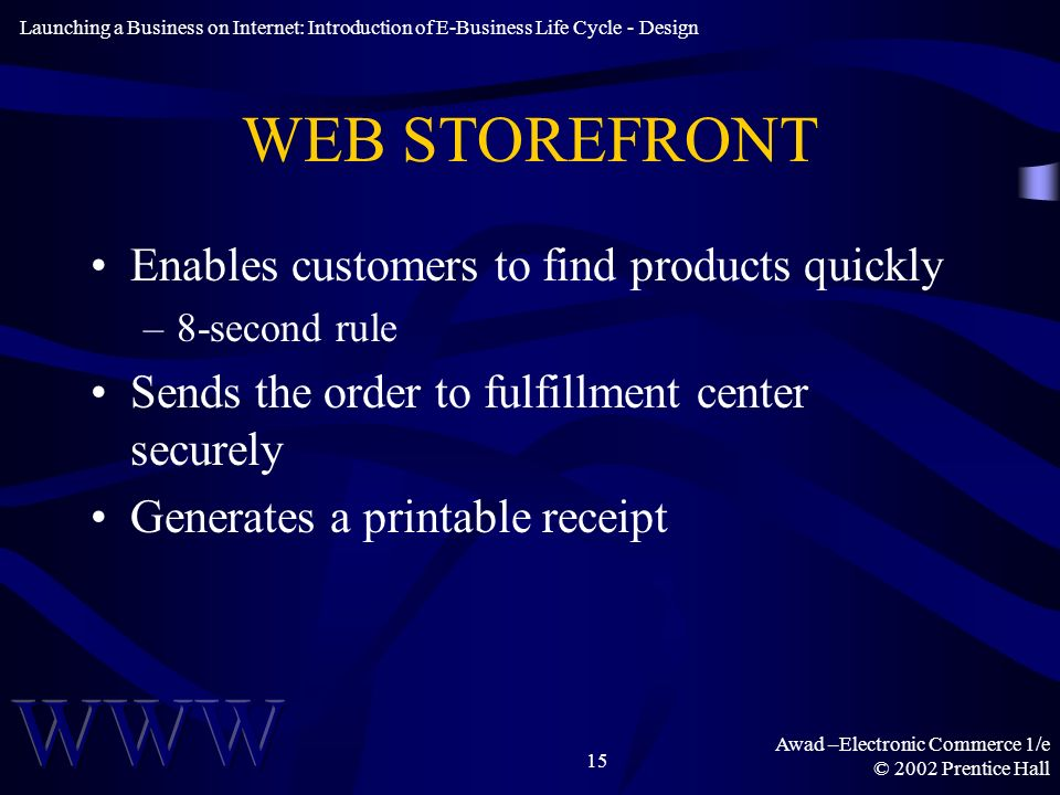 Awad –Electronic Commerce 1/e © 2002 Prentice Hall 15 WEB STOREFRONT Enables customers to find products quickly –8-second rule Sends the order to fulfillment center securely Generates a printable receipt Launching a Business on Internet: Introduction of E-Business Life Cycle - Design