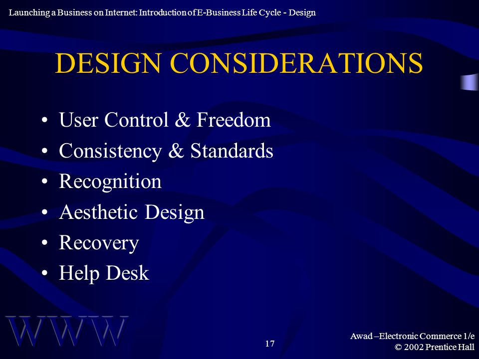 Awad –Electronic Commerce 1/e © 2002 Prentice Hall 17 DESIGN CONSIDERATIONS User Control & Freedom Consistency & Standards Recognition Aesthetic Design Recovery Help Desk Launching a Business on Internet: Introduction of E-Business Life Cycle - Design
