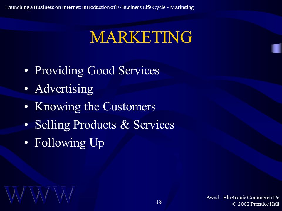 Awad –Electronic Commerce 1/e © 2002 Prentice Hall 18 MARKETING Providing Good Services Advertising Knowing the Customers Selling Products & Services Following Up Launching a Business on Internet: Introduction of E-Business Life Cycle - Marketing