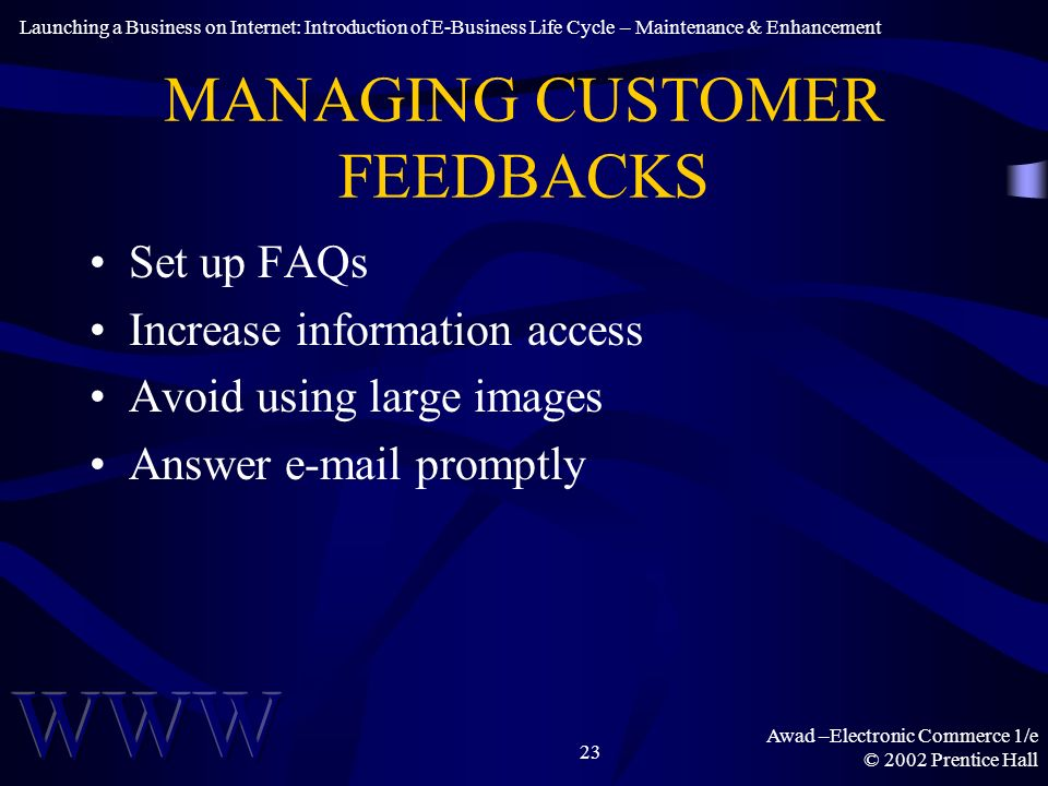 Awad –Electronic Commerce 1/e © 2002 Prentice Hall 23 MANAGING CUSTOMER FEEDBACKS Set up FAQs Increase information access Avoid using large images Answer e-mail promptly Launching a Business on Internet: Introduction of E-Business Life Cycle – Maintenance & Enhancement