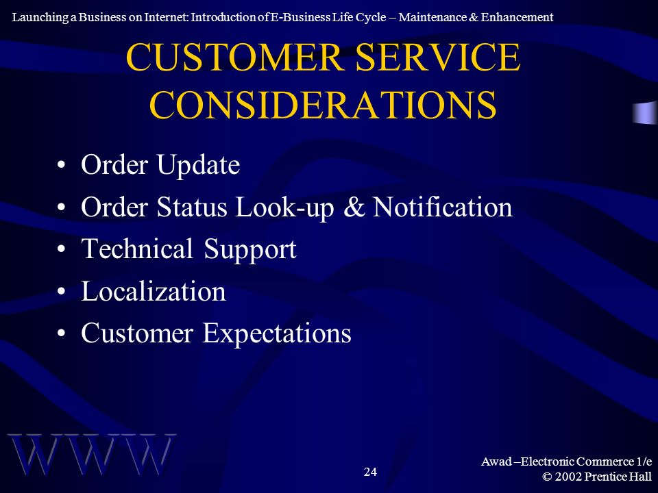 Awad –Electronic Commerce 1/e © 2002 Prentice Hall 24 CUSTOMER SERVICE CONSIDERATIONS Order Update Order Status Look-up & Notification Technical Support Localization Customer Expectations Launching a Business on Internet: Introduction of E-Business Life Cycle – Maintenance & Enhancement